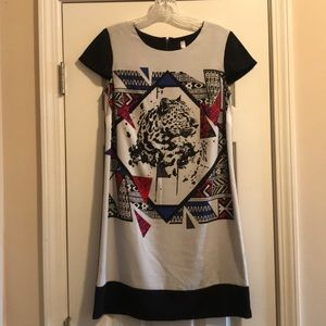 Kensie animal geometric print cap sleeve jaguar